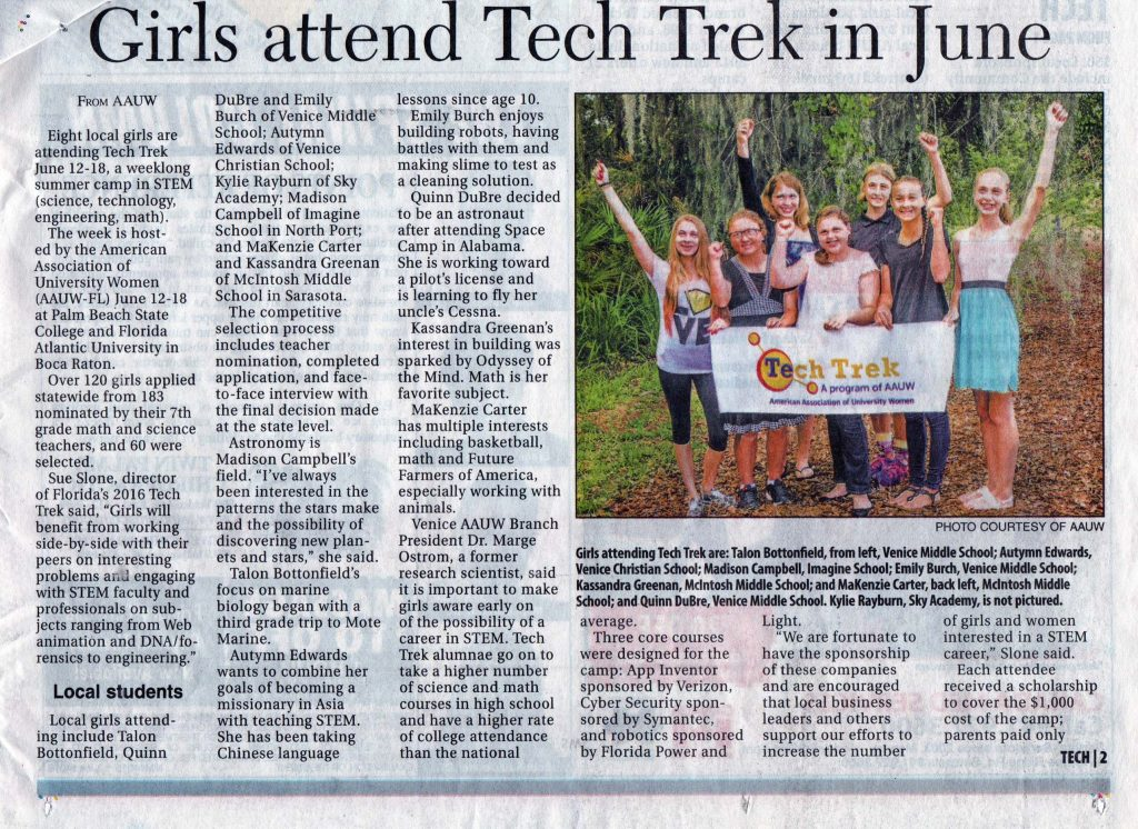 Girls attend Tech Trek in JUne