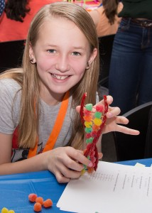 "Phoenix Shipley, 11, a 6th grader at Pine View School, showed her completed science project which was an ""Edible DNA"" helix made from licorice sticks and gumdrops at the January 31 STEM Event sponsored by Venice-AAUW and the Frances T. Bourne Public Library."